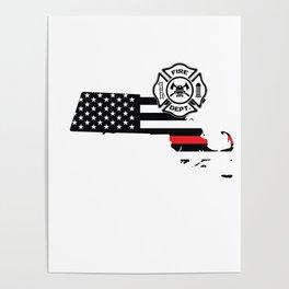 Massachusetts Firefighter Shield Thin Red Line Flag Poster