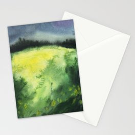 Watercolor landscape yellow field Stationery Cards