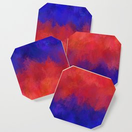 Red Pink Blue Color Explosion Abstract Coaster