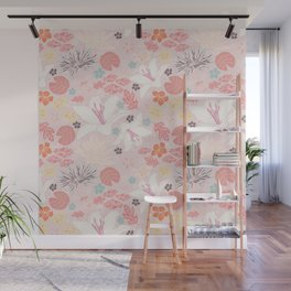 Pink Japanese pond florals Wall Mural