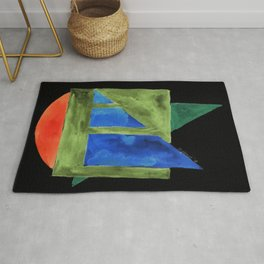 180818 Inverted Geometrical Watercolour 2| Colorful Abstract | Modern Watercolor Art Rug