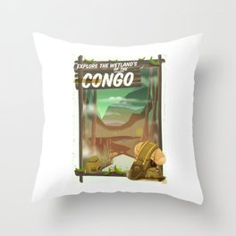 Explore the Wetlands of the Congo Throw Pillow