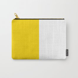 White and Gold Yellow Vertical Halves Carry-All Pouch