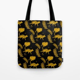Cat and Fern in Yellow and Black Tote Bag