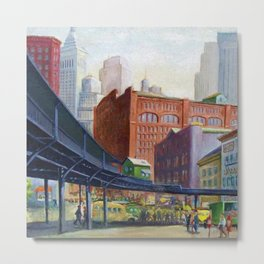 New York City Elevated Railroad, Looking Towards Lower Manhattan Metal Print