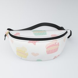 cute colorful pattern with cupcakes, starfishes, shellfishes, hearts, roses Fanny Pack