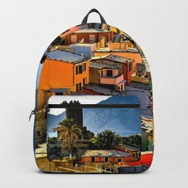 Cinque Terre Vernazza Village Mediterranean Coast, Italy 2 Backpack