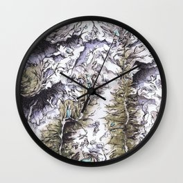 Saribung, Nepal - Watercolor and Ink artwork Wall Clock