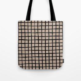 Strokes Grid - Black on Nude Tote Bag
