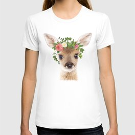 Baby Deer With Flower Crown, Baby Animals Art Print By Synplus T-shirt