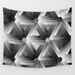 Monochrome penrose triangles Wall Tapestry