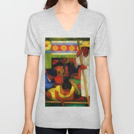 The Flowered Canoe by Diego Rivera Unisex V-Neck