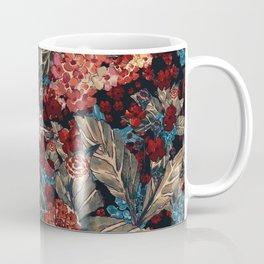 Deep moody floral watercolor - dark red,  rich dark blue and brown Coffee Mug