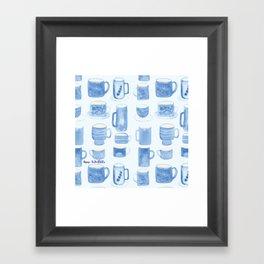 Blue coffee cups Framed Art Print