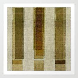 """Burlap Texture Greenery Columns"" Art Print"
