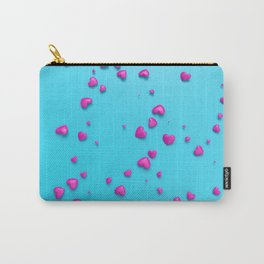VALENTINE HEARTS - Pink Plastic Hearts Carry-All Pouch