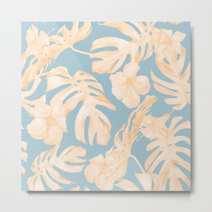 Island Vacation Hibiscus Palm Coral Sky Blue Metal Print