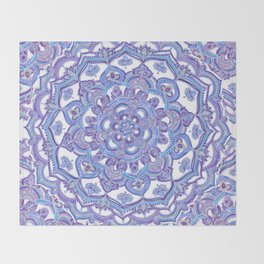 Lilac Spring Mandala - floral doodle pattern in purple & white Throw Blanket