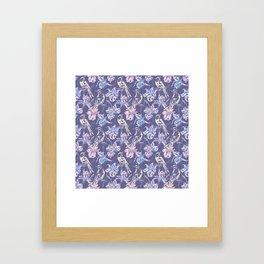 Canaries Birds Flowers Violet Background Pattern Framed Art Print