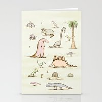 dinosaurs Stationery Cards featuring Dinosaurs by Sophie Corrigan