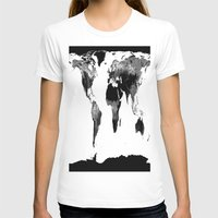 map of the world T-shirts featuring World Map  Black & White by Whimsy Romance & Fun