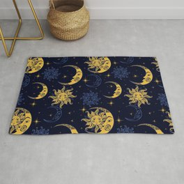 Sun and moon pattern gold and navy Rug