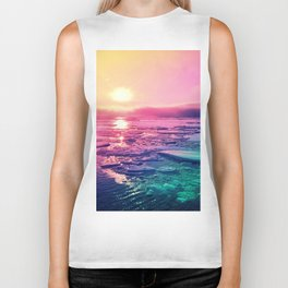 Pastel Sunset Waters Biker Tank
