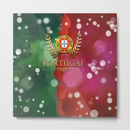 Portugal Flag Pattern Metal Print