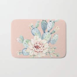 Sweet Pink Rose Desert Cactus Bath Mat