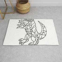 Alligator Prancing Mosaic Black and White Rug
