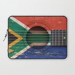 Old Vintage Acoustic Guitar with South African Flag Laptop Sleeve