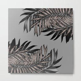 Gray Black Palm Leaves with Rose Gold Glitter #5 #tropical #decor #art #society6 Metal Print