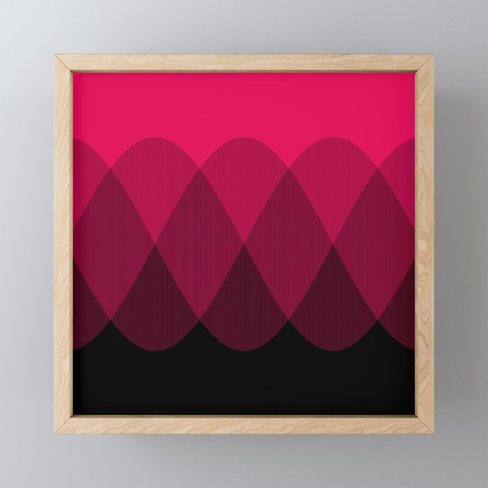 Bright red to Black Ombre Signal Framed Mini Art Print