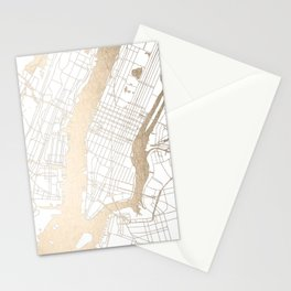 New York City White on Gold Stationery Cards