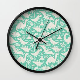 Delightful Dinos (teal) Wall Clock