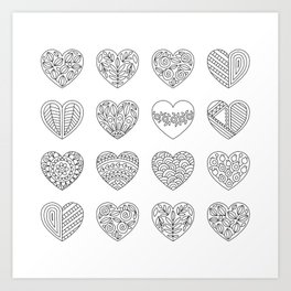 Tiny Hearts and Patterns, Adult Coloring Pattern Art Print
