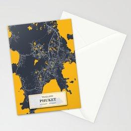 Phuket Thailand City Map with GPS Coordinates Stationery Cards