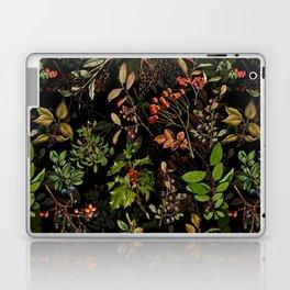 Vintage & Shabby Chic - vintage botanical wildflowers and berries on black Laptop & iPad Skin