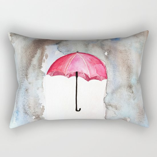 The Red Umbrella Rectangular Pillow