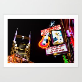 Nashville Skyline and Broadway Neon Lights Art Print