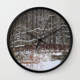 Bridge in winter Wall Clock