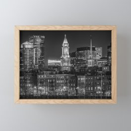 BOSTON Evening Skyline of North End & Financial District | Monochrome Framed Mini Art Print