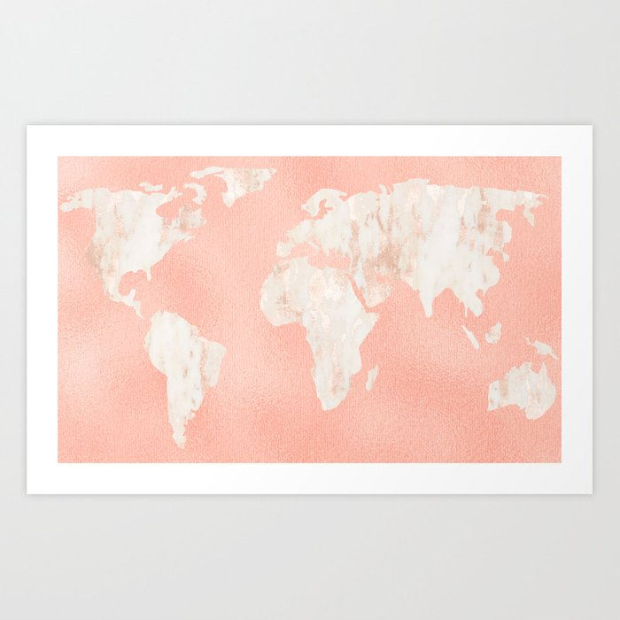 Pink rose gold world map art print by mapmaker society6 pink rose gold world map art print gumiabroncs Image collections