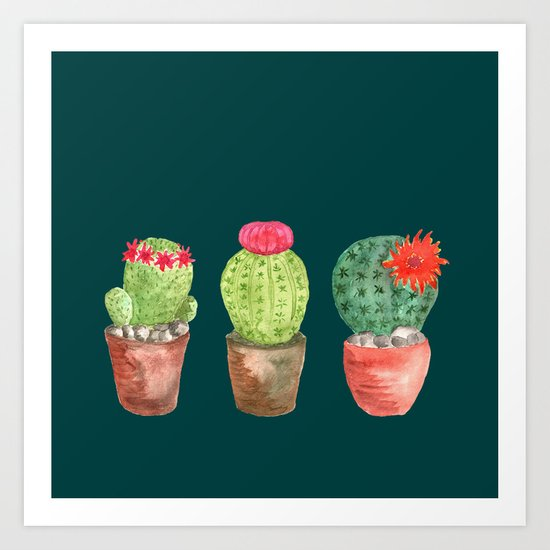 Three Cacti watercolor green Art Print