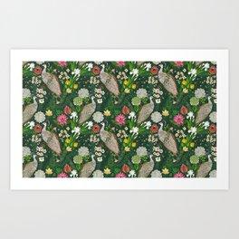 Peacock Garden Art Print