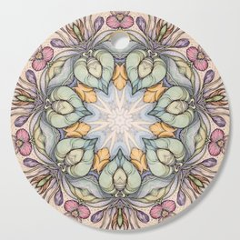vintage flowers hand drawn and  kaleidoscope mandala Cutting Board