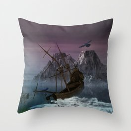 Awesome shipwreck in the night Throw Pillow