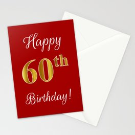 """Elegant """"Happy 60th Birthday!"""" With Faux/Imitation Gold-Inspired Color Pattern Number (on Red) Stationery Cards"""