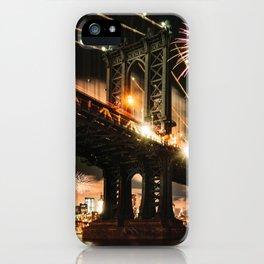 manhattan bridge with fireworks iPhone Case