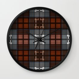 Dark black and blue plaid checkered Scandinavian design Wall Clock